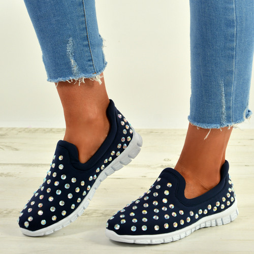 Danielle Navy Blue Studded Trainers