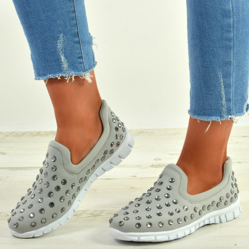 Danielle Light Grey Studded Trainers