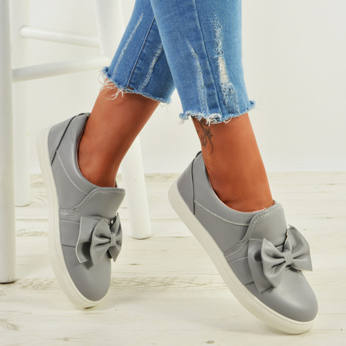 Elyse Grey Bow Slip On Trainers