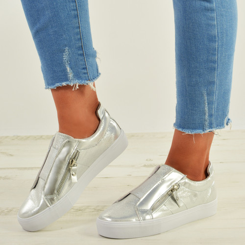 Giovanna Silver Slip On Sneakers