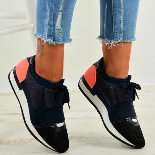 Johanna Navy Orange Glitter Trainers