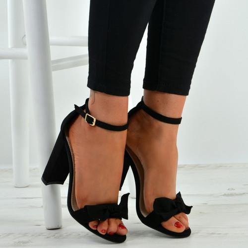 Karlee Black Bow Heeled Sandals
