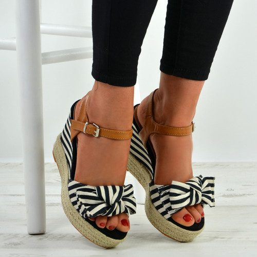 2c32d17b9991 New Womens Bow Espadrille Wedges High Heels Platform Ankle Strap ...