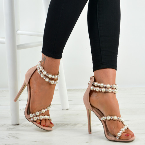 Princess Pink Stiletto Pearl Sandals