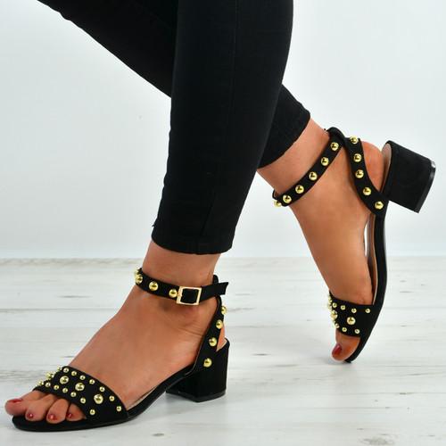Kaylen Black Mid Heeled Sandals