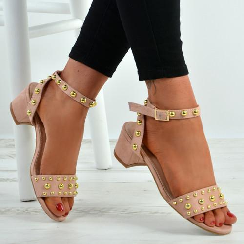 Kaylen Pink Mid Heeled Sandals