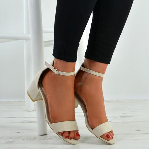 Olivia Beige Ankle Strap Sandals