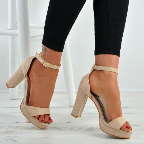 106e569b481 Womens Ladies Platform High Block Heel Strappy Sandals Ankle Strap ...