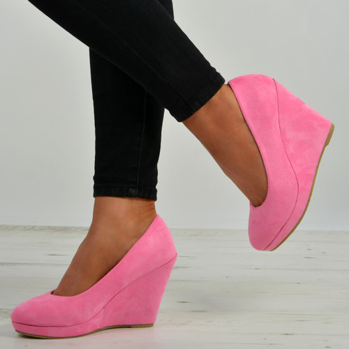Elsa Dark Pink Slip On Pumps