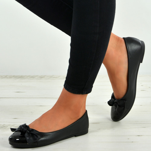 Priscilla Black Patent Ballerinas