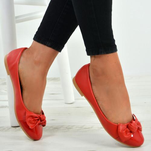 Priscilla Red Patent Ballerinas
