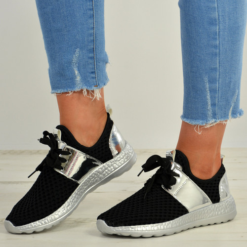 Caroline Silver Lace Up Sneakers