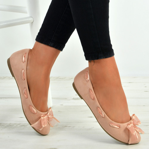 Kallie Pink Bow Slip On Ballerina