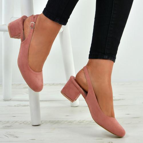 03f1789594e Aubrie Pink Low Heel Pumps