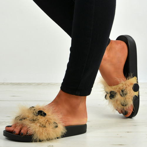 Nicole Beige Fur Sandals