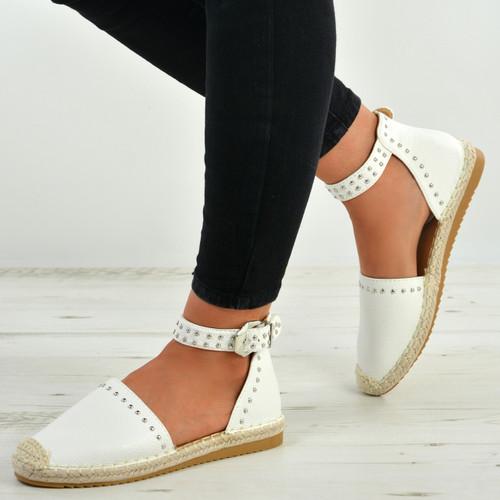 Stella White Ankle Strap Flat Espadrille