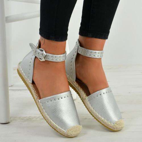 Stella Silver Ankle Strap Flat Espadrille