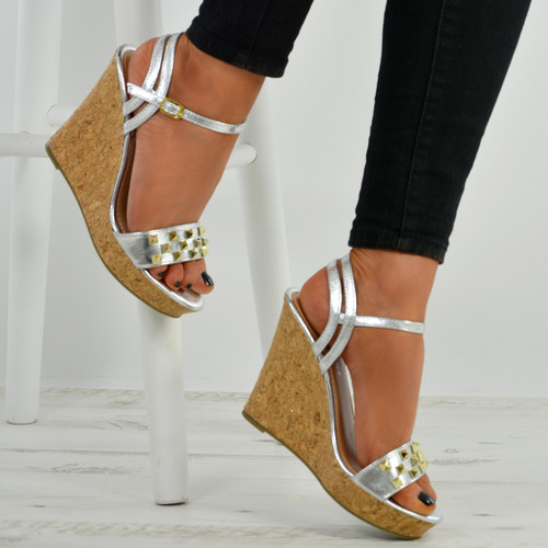 Frida Silver Cork Wedge Platform Sandals