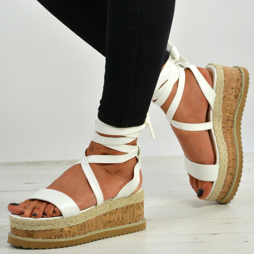 Yasmin White Ankle Wrap Sandals