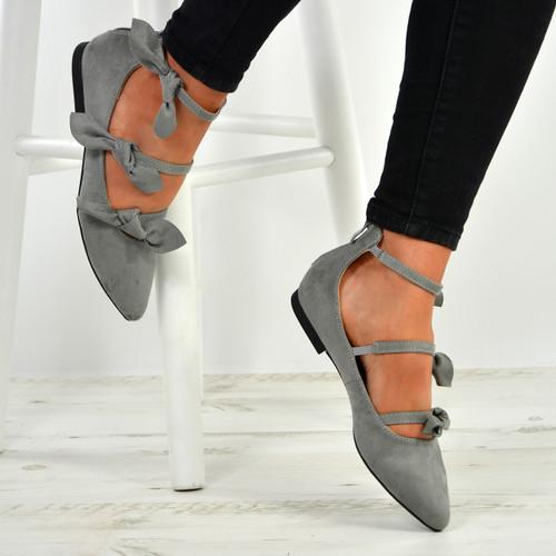 Amaris Grey Bow Ballerinas