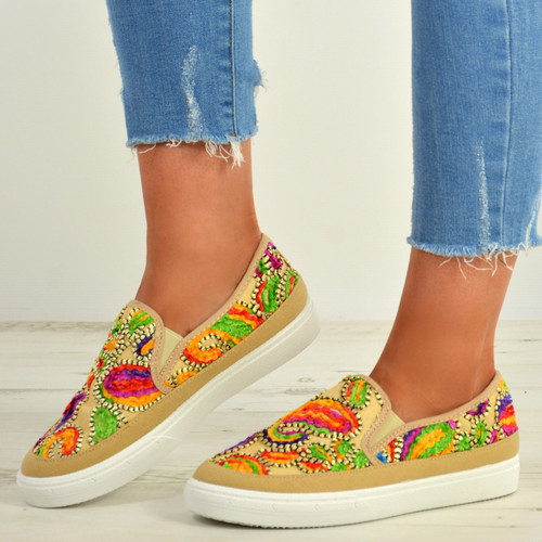 June Yellow Embroidered Trainers