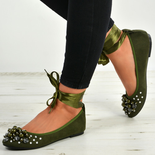 Janiyah Green Ankle Wrap Flats