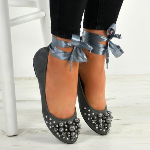 Janiyah Grey Ankle Wrap Flats