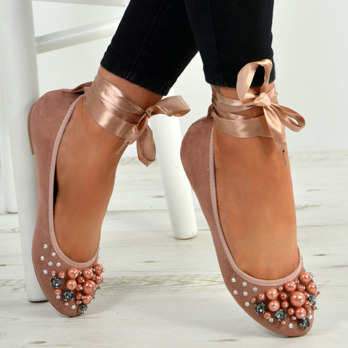 Janiyah Pink Ankle Wrap Flats