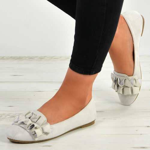 Bria Light Grey Ruffle Ballerinas