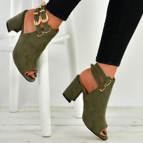 Angeline Army Green Block Heel Sandals