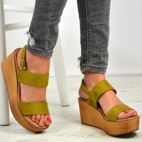 Annie Green Ankle Strap Platform Sandals