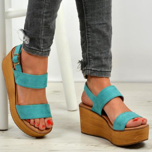 Annie Light Blue Ankle Strap Platform Sandals