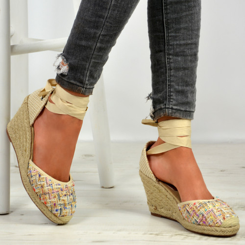 Taniyah Beige Ankle Wrap Pumps
