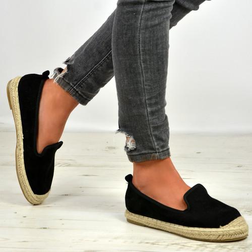 Danica Black Slip On Espadrille Flats