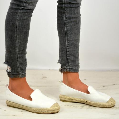 Danica White Slip On Espadrille Flats