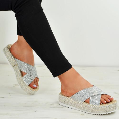 Kassia Silver Glitter Flatforms