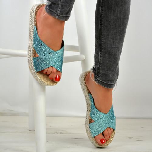 Kassia Blue Glitter Flatforms