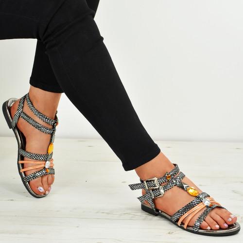 Jocelyn Black Flat Sandals