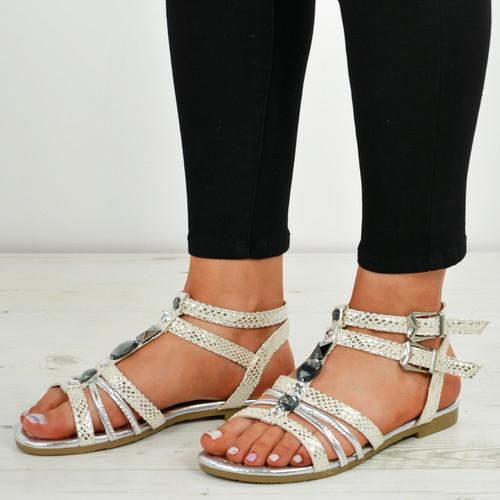 Jocelyn Silver Flat Sandals