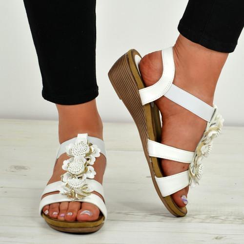 Danna White Flower Sandals