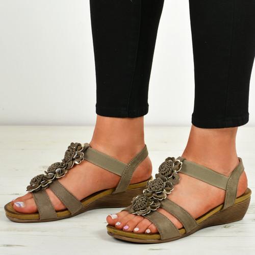 Danna Mocha Flower Sandals