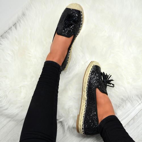 Deja Black Glitter Ballerinas