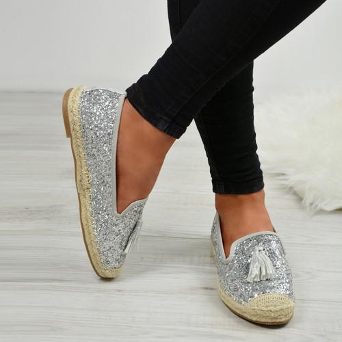 Deja Silver Glitter Ballerinas