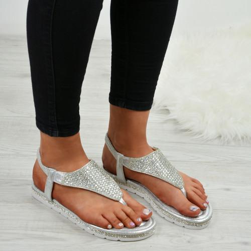 Lorena Silver Studded Sandals