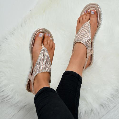 Lorena Champagne Studded Sandals