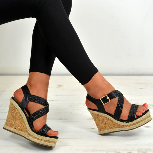 698a03600bc Ladies Womens Cork Wedge Sandals Platform Ankle Strap Braids Summer ...