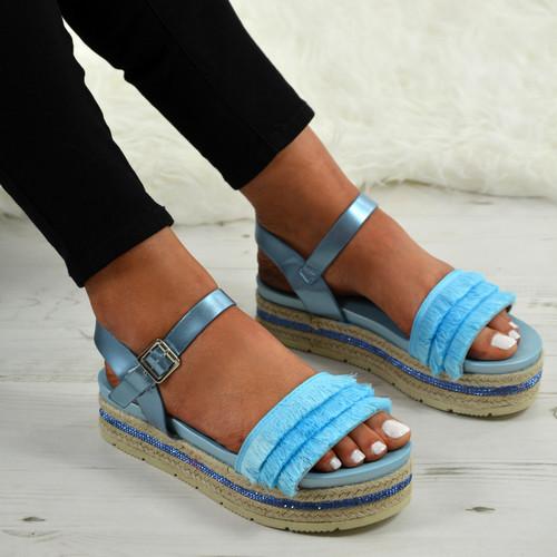 209eada4b017 Ladies Womens Espadrille Flatforms Summer Sandals Platform Wedge ...
