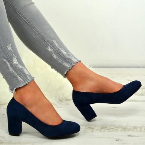 Kamari Blue Mid Heel Pumps