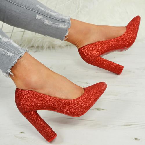 Barbara Glitter Red Pumps