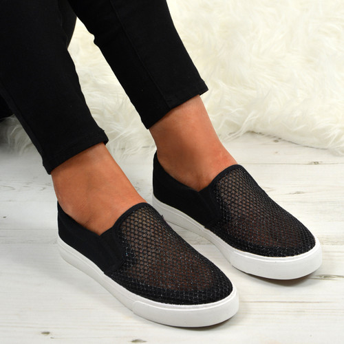 Elaina Black Fishnet Mesh Trainers